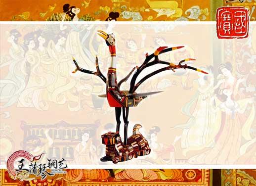 虎座立凤—青铜彩绘园艺雕塑